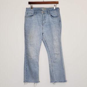 Topshop moto Dree raw hem cropped light wash jeans